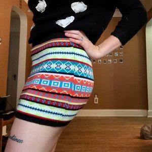 PLANET GOLD bold thread Gypsy short pencil skirt